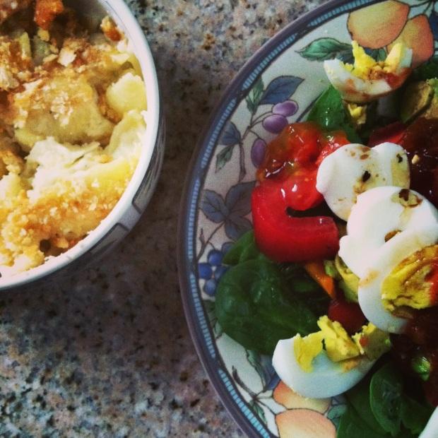 macncheese + salad