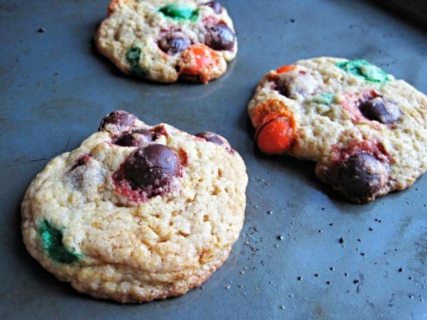 pumpkin m&m cookies 3