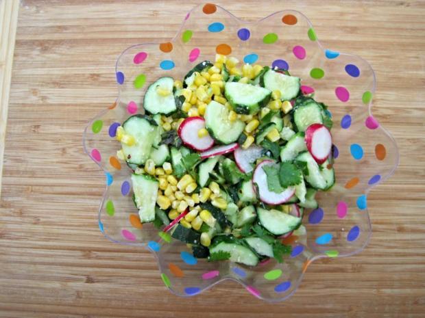 cucumber corn radish salad 1